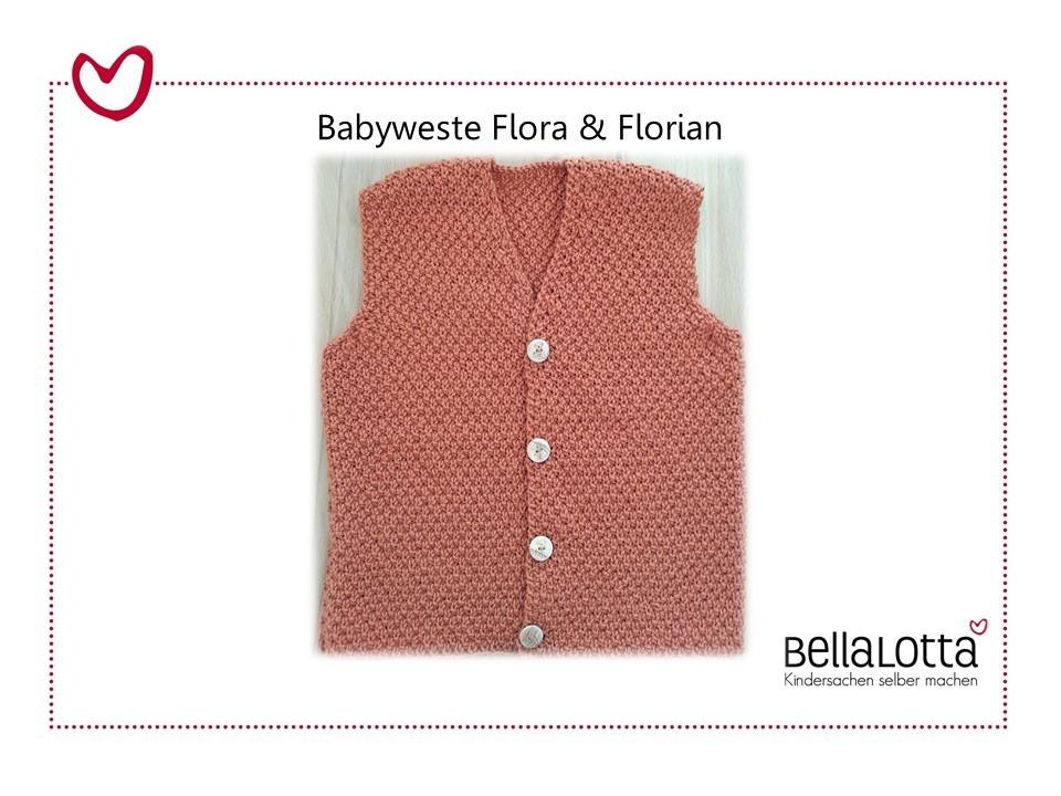 Strickanleitung Babyweste Flora und Florian, Gr. 62 92, für Fortgeschrittene
