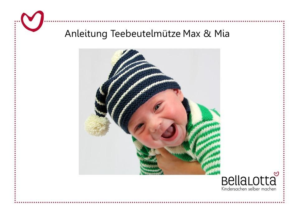 Strickanleitung Teebeutelmütze Max & Mia, 0-3 Jahre, für Anfänger