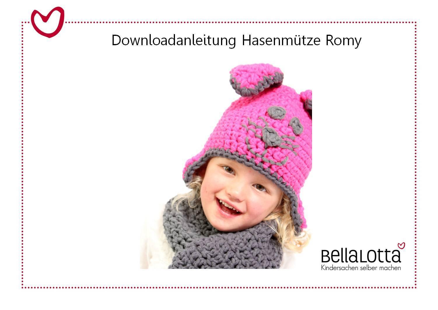 Anleitung Häkelmütze Romy, Kleinkind-Erwachsener, für Anfänger
