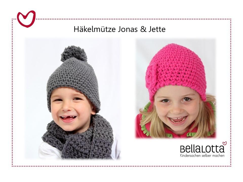 Anleitung Häkelmütze Jonas & Jette in 3 Größen von 3-12 Jahren, für Anfänger
