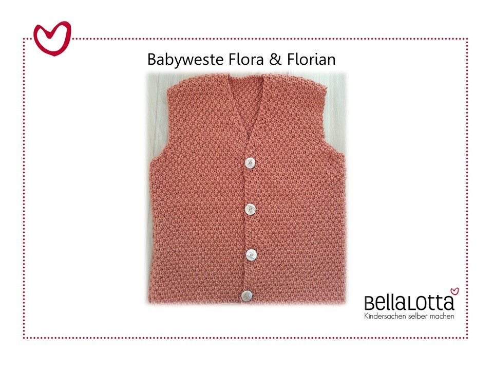 Strickanleitung Babyweste Flora und Florian, Gr. 62-92, für Fortgeschrittene