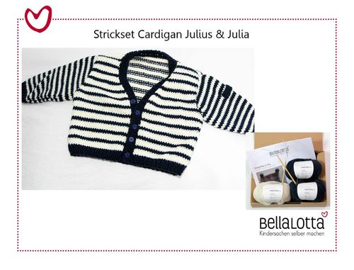 Strickset Cardigan Julius & Julia - Gr. 62-92 in vielen Farbkombinationen
