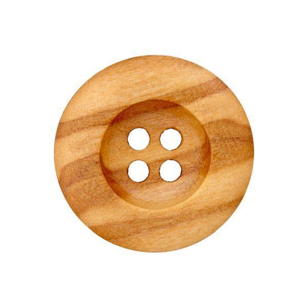 Holzknopf 4-Loch gemasert 18mm