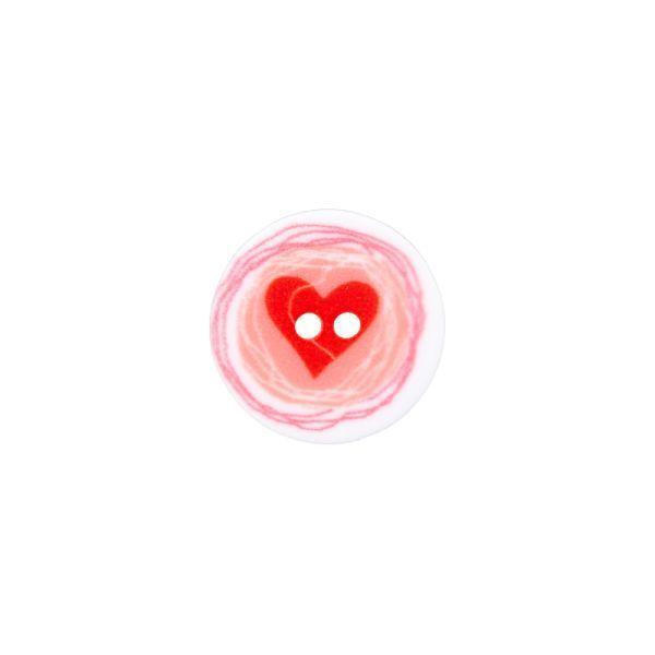 Knopf mit Herzchen - 2 Loch - 12mm
