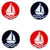 Knopf Segelboot - mit Öse - 15mm - in rot und blau