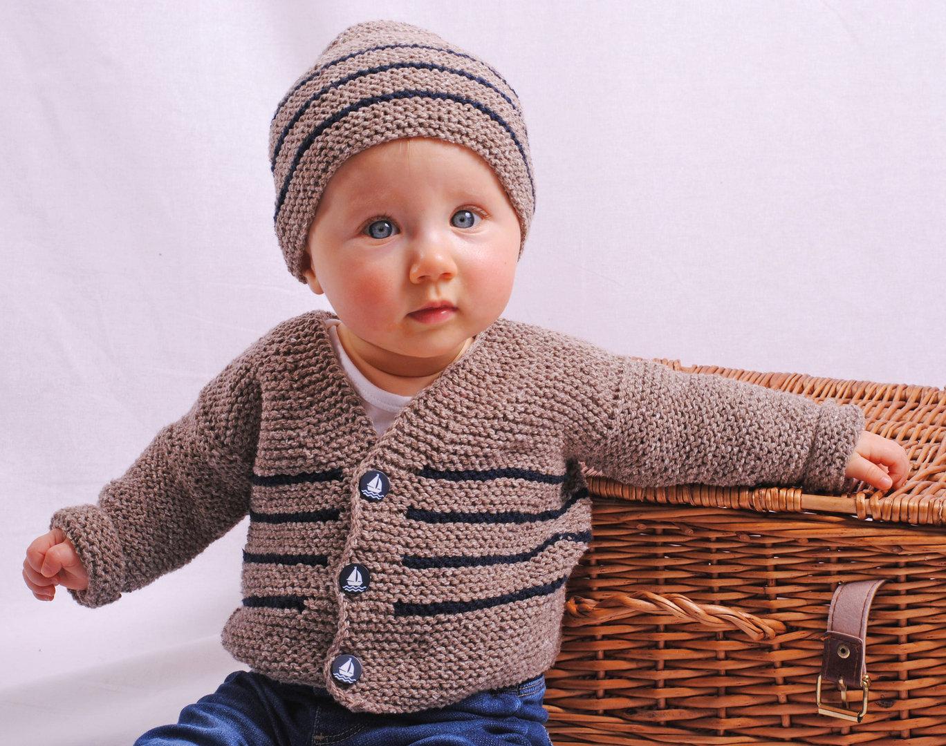Strickset Babyjacke und Mütze Luis & Luisa in 3 Größen von 3-24 Monaten