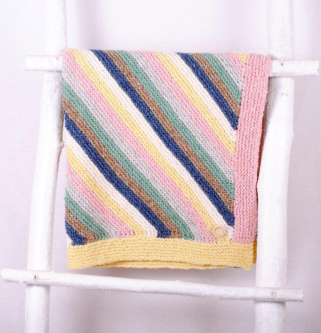 Strickset Baumwolle - Babydecke Farbenspiel 65x65 cm
