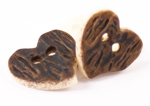Hirschhornimitat Herz 2-Loch - 15mm