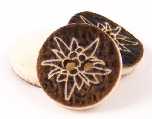 Hirschhornimitat dunkel mit Blume 2-Loch - 18mm