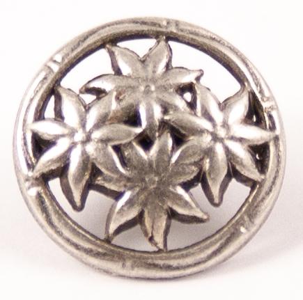 Metallknopf Edelweiß Altsilber mit Öse - 15mm