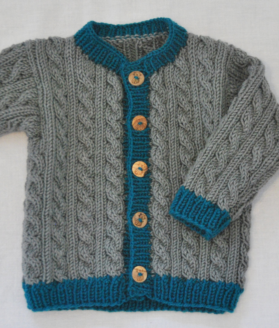 Strickset Merino - Zopfmuster Babyjacke Hänsel & Gretel in den Größen 62 bis 92