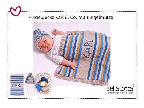 Strickset Merino - Ringeldecke Karl & Co. mit Ringelmütze 55x72cm